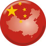 China Map And Flag Royalty Free Stock Photography