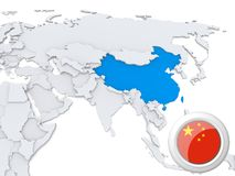 China on map of Asia. Highlighted China on map of Asia with national flag Royalty Free Stock Photo