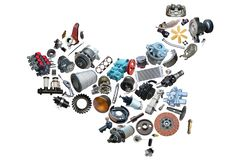 China map of the auto. Parts for shop auto aftermarket royalty free stock photo