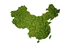 China map background with grass field. Royalty Free Stock Photo