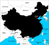 China Map Black. A map of china in black and color with neighbours royalty free illustration