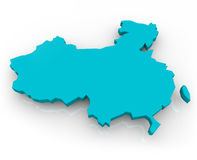China Map - Blue. A 3d render of a map of China on a white background Stock Photo