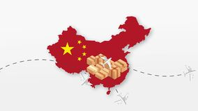 China map with cardboard boxes. Global Shipping