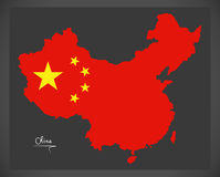 China map with Chinese national flag illustration Stock Photography