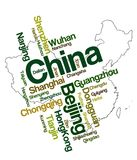 China map and cities. China map and words cloud with larger cities royalty free illustration
