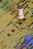 China on a map. Close up of the country of China on a world map to be used as a concept royalty free stock photo