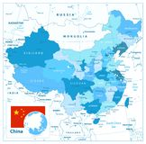 China Map in Colors of Blue. Detailed vector map of China Stock Photo