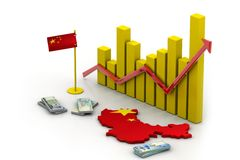 China map and currency Stock Image