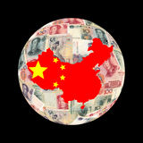 China map currency globe. China map flag on Chinese currency globe illustration Royalty Free Stock Images