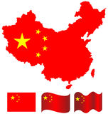 China map and flag of China. On white background Royalty Free Stock Image