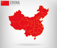 China Map with golden borders. Vector Royalty Free Stock Photos