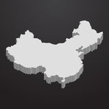China map in gray on a black background 3d Royalty Free Stock Photography