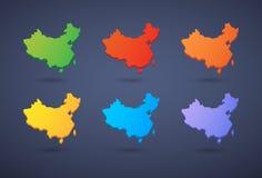 China map icon set Royalty Free Stock Photo