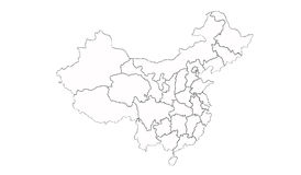 China map. Layout and region in white background royalty free illustration