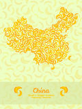 China map made of bananas. Illustration. Veggie background. Stock Photography