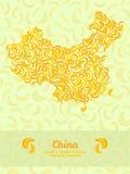 China map made of bananas. Illustration. Veggie background. Stock Photography