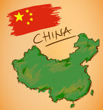 China Map and National Flag Vector Stock Photos
