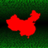 China map over binary code Royalty Free Stock Images