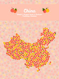 China map poster or card. Peach illustration. Vegetarian postcar Royalty Free Stock Image