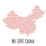 China Map with red hearts - symbol of love. abstract background vector illustration