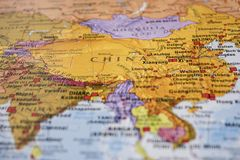 China on the Map. Representation of China on a map stock photography