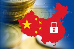 China map with security symbol and stack coin on technology background. China map with security symbol and stack coin on technology background : security stock images