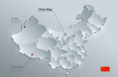 China map separate states individually glass card paper 3D Stock Photography