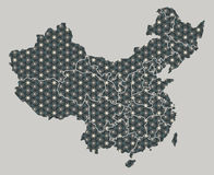 China map with stars and ornaments including borders. Illustration Stock Image