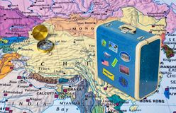 China map and travel case with stickers my photos. China map and case with stickers my photos - travel background stock photo