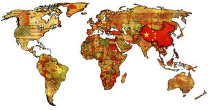 China on map of world. Old political map of world with flag of china Royalty Free Stock Images