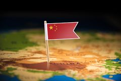 China marked with a flag on the map.  royalty free stock photos