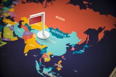 China marked with a flag on the map.  stock photos