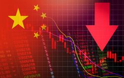 China market stock crisis red price arrow down chart fall flag of China stock images