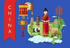 China-Marksteine und -reise zeichnen auf blauem Hintergrund auf lizenzfreie abbildung
