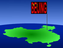 China met de vlag van Peking Royalty-vrije Stock Afbeeldingen