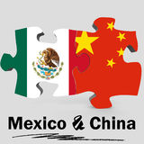 China and Mexico flags in puzzle Royalty Free Stock Images