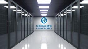 China Mobile logo på väggen av serverrummet Redaktörs- tolkning 3D stock illustrationer
