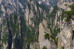 China Mount Huangshan with green trees and beautiful rocks Royalty Free Stock Images