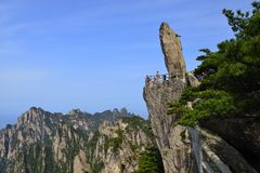 China Mount Huangshan with green trees and beautiful rocks Stock Photos