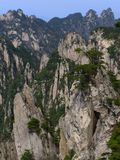 China Mount Huangshan with green trees and beautiful rocks Royalty Free Stock Photography