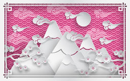 China mountain background. Vector illustration of mountains, branch of cherry blossoms, clouds and sun on pink outdoor background, oriental vintage pattern frame stock illustration