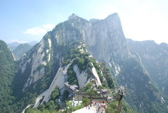 China Mountain scenery. This is a panoramic view on the Huashan Mountain, North Peak photographed Royalty Free Stock Image
