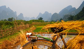 China with mountains and bike Royalty Free Stock Images