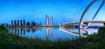 Cityscape of Nanjing, China. China Nanjing city skyline and modern buildings, night landscape royalty free stock images