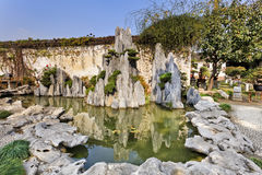 China Nanjing Garden Rocks pond Royalty Free Stock Photo