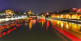 China Nanjing Temple Canal Wide Set Stock Photos