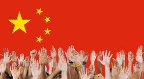 China National Flag Group of People Concept Royalty Free Stock Photography