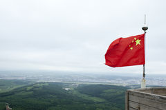 China national flag on the mountain Royalty Free Stock Photo