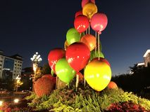 China National holiday celebrations Flowers decoration. Night views Royalty Free Stock Photos