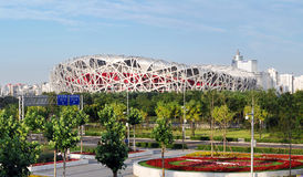CHINA NATIONAL OLYMPIC STADIUM. As known as Bird Nest is the most famous landmark in Beijing, China. The 2008 Summer Olympics took place at this stadium Stock Photos